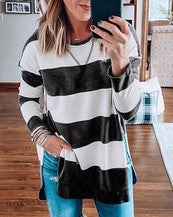 COLOR BLOCK STRIPE SWEATSHIRT