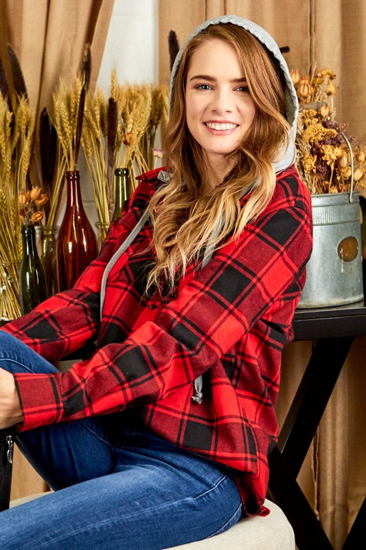 HOODED BUFFALO PLAID SHIRT
