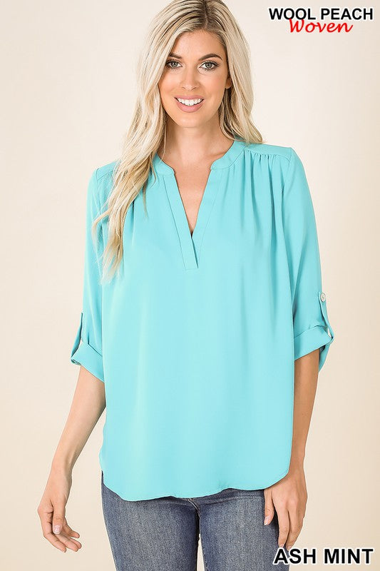 SPLIT NECK HENLEY BLOUSE