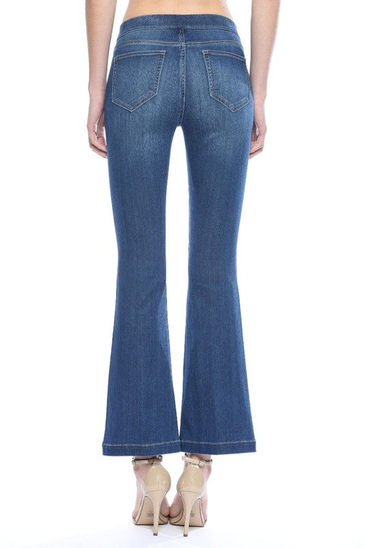 CELLO 30 INCH INSEAM DARK WASH FLARED PULL ON PANT