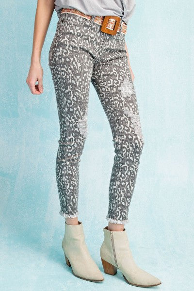 ANIMAL PRINT SELF DISTRESSED JEAN