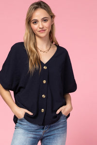 NAVY V NECK BUTTON UP TOP