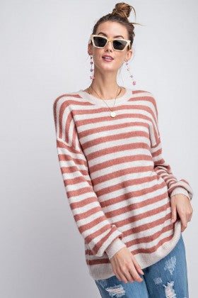 SLOUCHY STRIPED KNITTED SWEATER PULLOVER