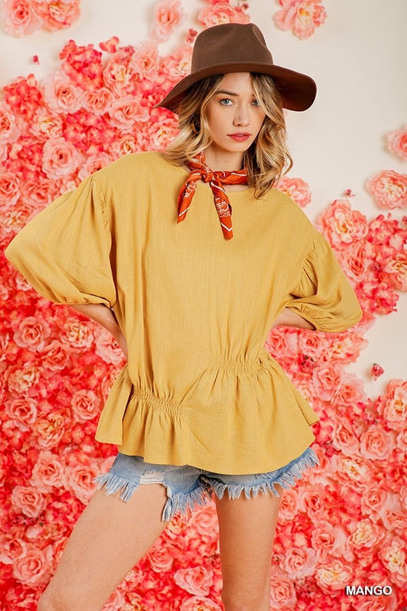 3/4 PUFF SLEEVE TOP