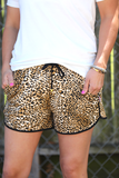 DRAWSTRING LEOPARD SHORTS