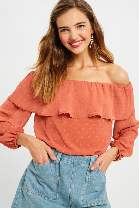 TEXTURED CHIFFON LAYERED TOP