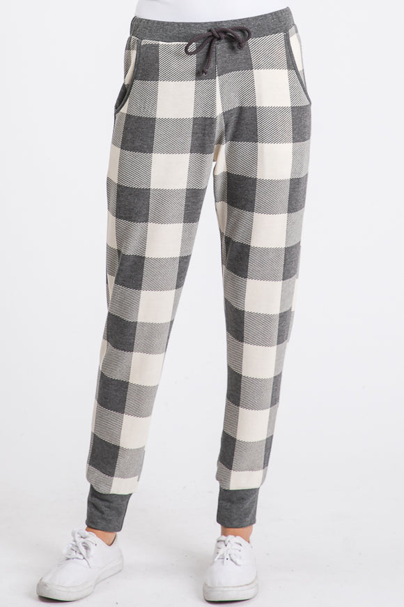 PLAID DRAWSTRING SWEATPANTS