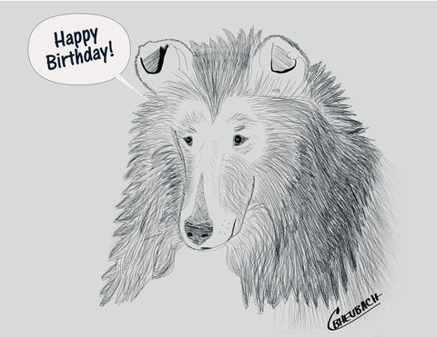 Happy Birthday Pencil Drawing  -8 Note Cards