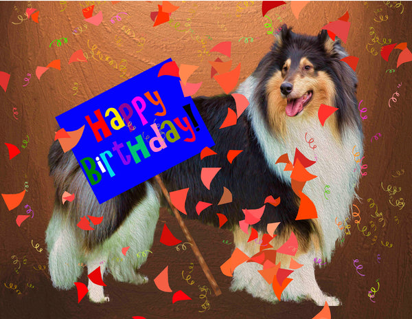 Rough Tricolor Collie Holding a Birthday Sign. -8 Note Cards