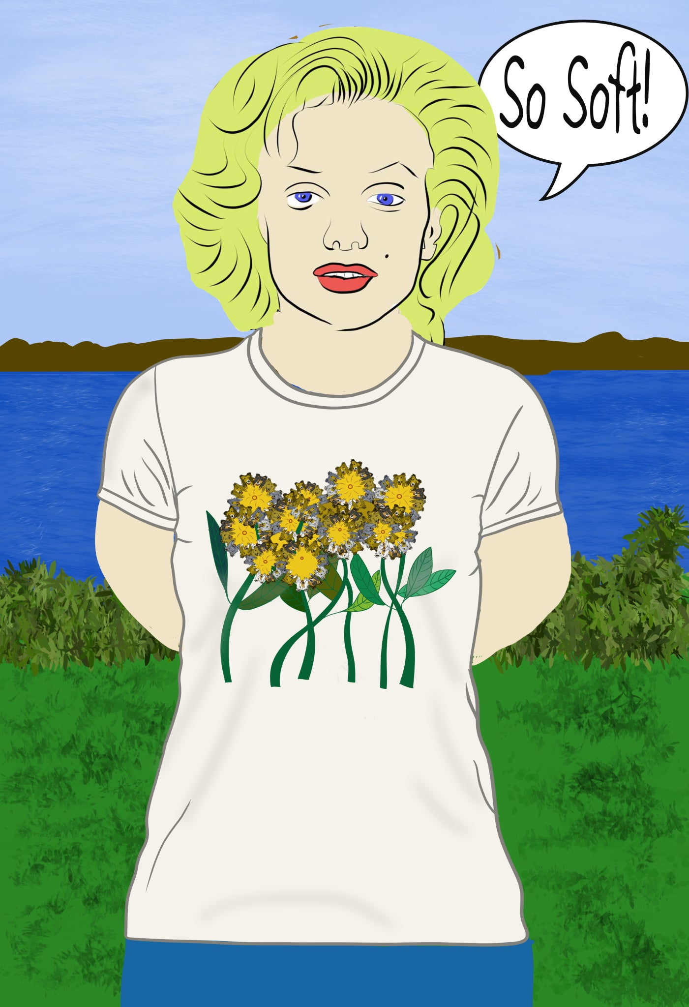 Collie Flower Performance Tee Shirt Full Color