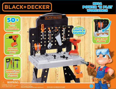 Black and Decker Mega Power 'N Play Workbench, 52 Piece Set