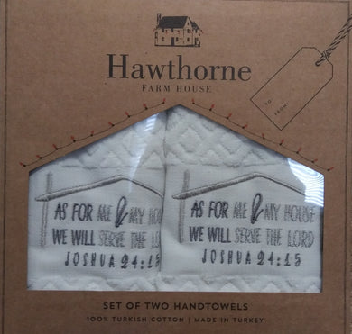 Hawthorne Farm House Set of 2 Hand towels with Scriptures