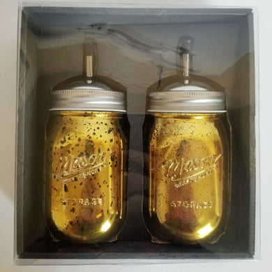 Mason Craft Set of 2 Gold Dispenser Jars 16oz