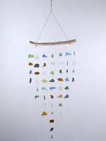Beach glass wind chime and driftwood 7 string
