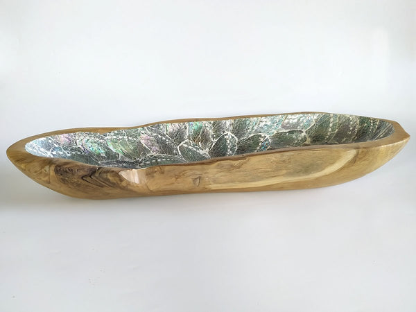 Wooden Long Bowl Laminated with abalone