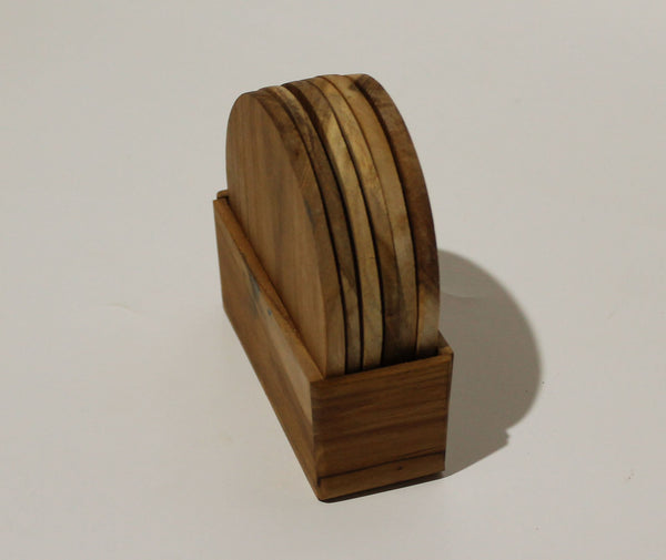 Natural wood coaster 6 in a box 10 cm (Teak)