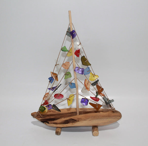 Boat in Wood with Sail of Glass