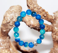 Bracelet of Blue Sea Stone with Turtle, Elastic