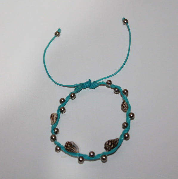 Bracelet With 4 Shell Wax Cord