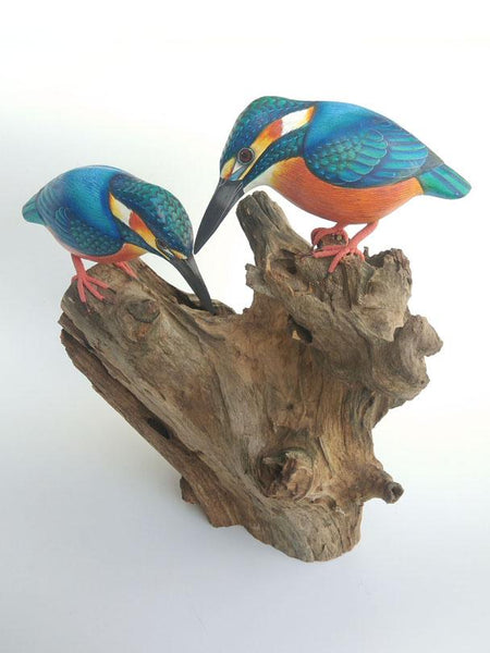 Kingfisher on wood double