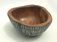 Carved bowl Black white wash (Teak)