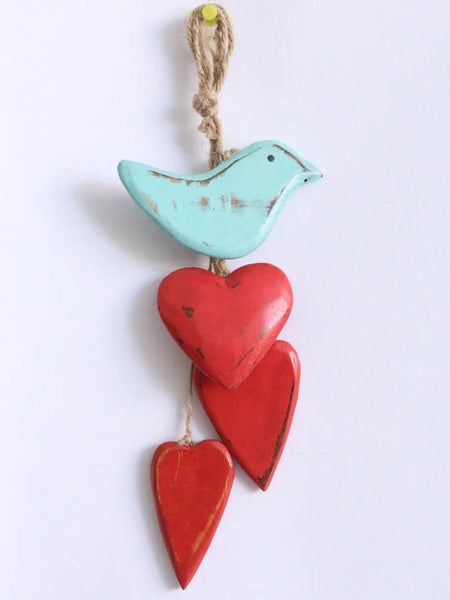 Hanging Heart and Bird Turqis bird, red heart