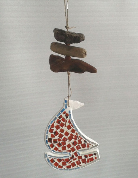 Mosaic boat and driftwood mobile