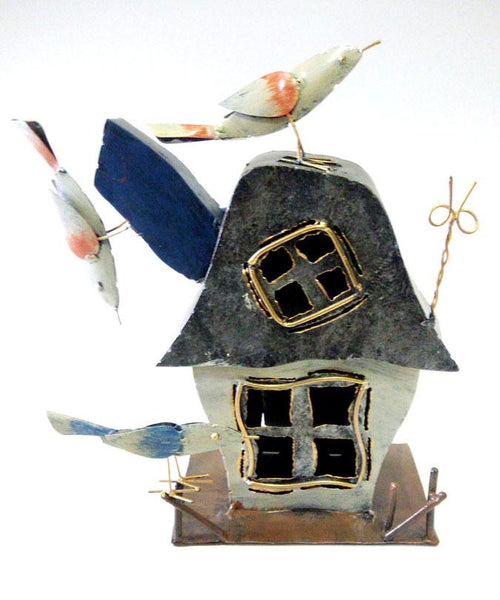 Birdhouse candle holder