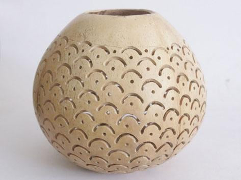 Carved Coconut Shell For T-Light (White)