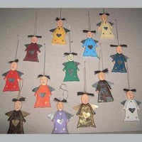 Wooden Angels with Iron Wings Set of 13
