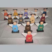 Wooden Angels with Wooden Wings Set of 13