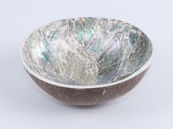 Coconut bowl laminated with abalone