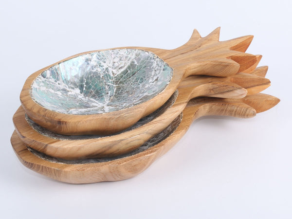 Wooden bowl set of 3 Pineapple