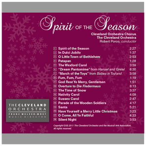 Spirit of the Season CD - Gift with Chorus Fund Donation