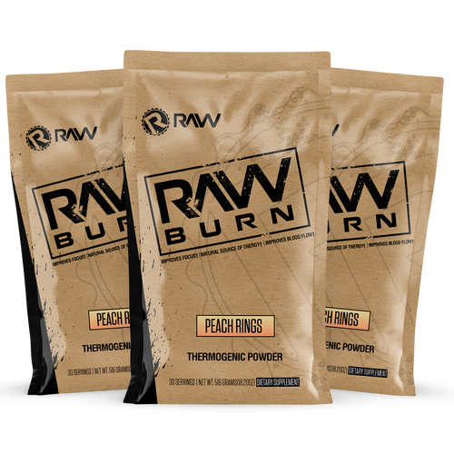 raw burn supplement 3pack sampler kit peach rings
