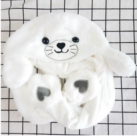 white seal cute animal hat with moving ears