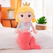 Load image into Gallery viewer, rose red cute mermaid pillow plushie with crown