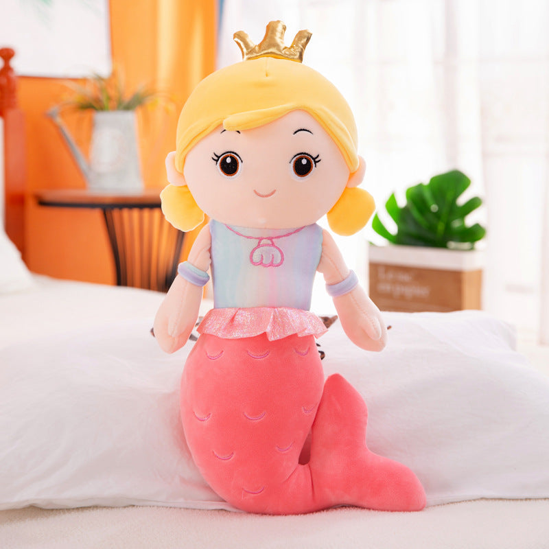 rose red cute mermaid pillow plushie with crown