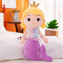 Load image into Gallery viewer, purple cute mermaid princess plushie with crown