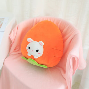 rabbit in carrot plushie with blanket