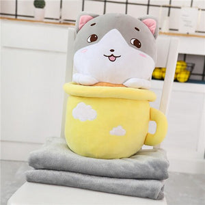 cute yellow cats in cups plushie with blanket