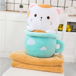 cute blue cats in cups plushie with blanket