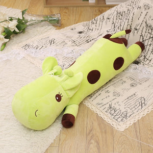 long giraffe fluffy stuffed animal yellow cute plush toy green