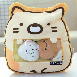 cute mini cat plushie snack in pudding bag