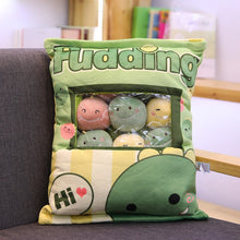 Load image into Gallery viewer, cute mini dinosaur plushie snack in pudding bag