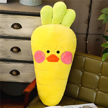 Load image into Gallery viewer, giant carrot plush toy plushie stuffed vegetables cute yellow brown orange blue line bears
