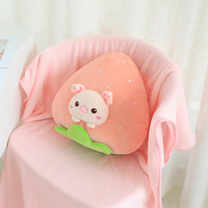 pig in strawberry plushie with blanket
