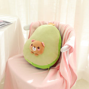 bear in avocado plushie with blanket