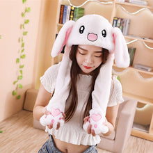 Load image into Gallery viewer, Pinch the paws and the ears will move! Get this cute rabbit plushie hat to enlighten your day.