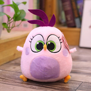 lavender chicken or bird plush toy with cute smile
